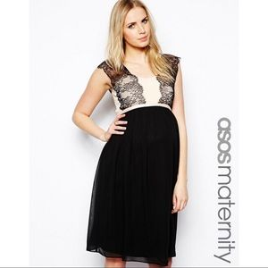 ASOS Maternity Dress with Chiffon Lace Overlay NWT